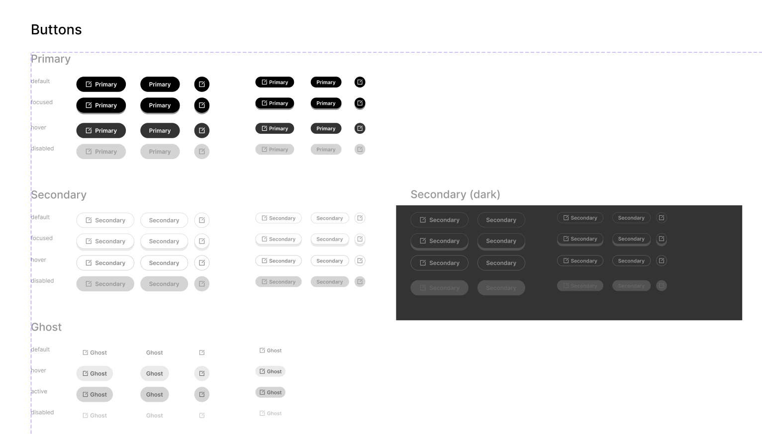 Collecta design system buttons
